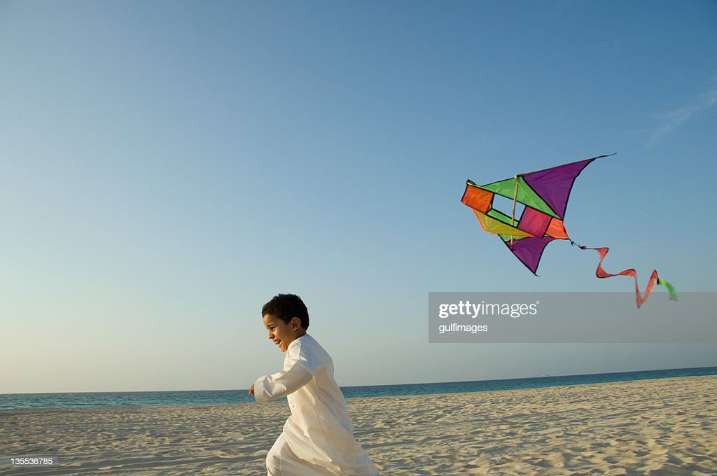 Young boy flying the kite : Stock Photo