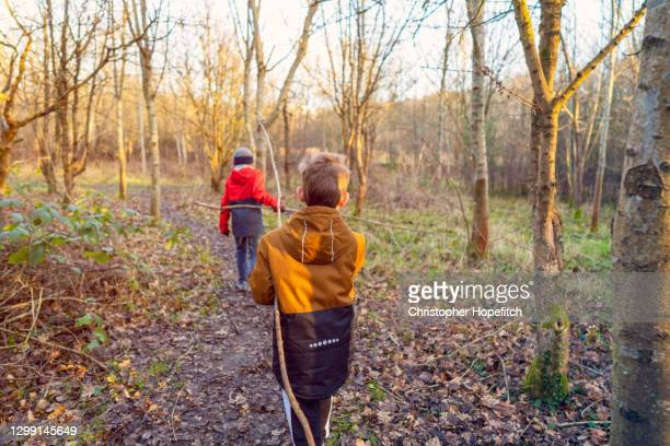 a young boy following his older brother through light woodland - winter stock pictures, royalty-free photos & images