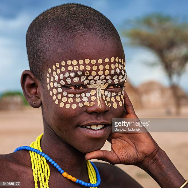 young boy from erbore tribe, omo valley, ethiopia - african tribal face painting stock photos and pictures