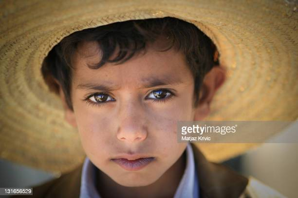A young boy from the village of Jebel Shugruf in the Haraz Mountains poses for a photograph on January 4 2006 in Shugruf Yemen Decades of political...
