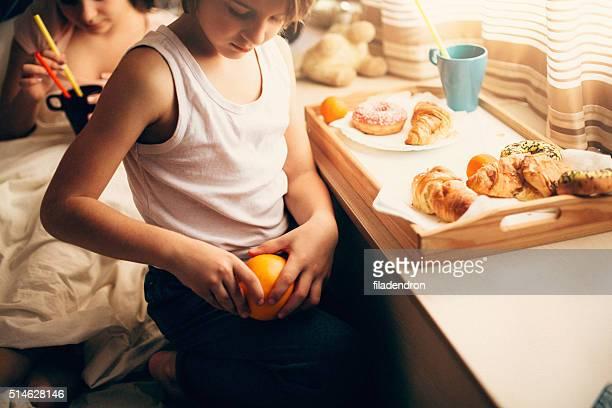 Young boy having a breakfast