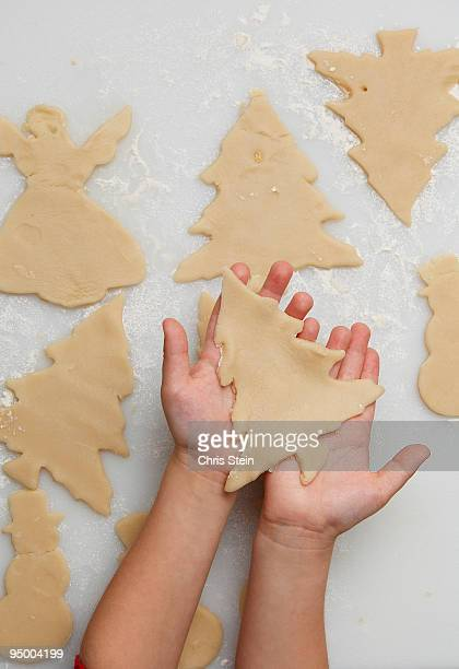 Young boy holding a holiday tree cookie