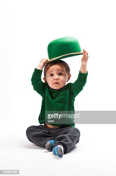 young boy holding Leprechaun hat