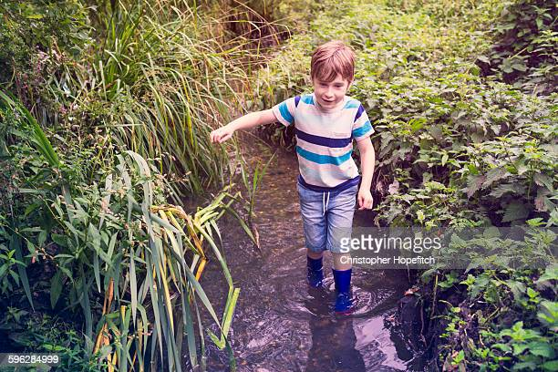 Young boy in a stream