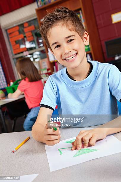 Young Boy in Class Coloring