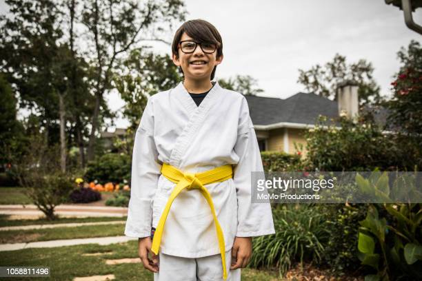 Young boy in karate gi