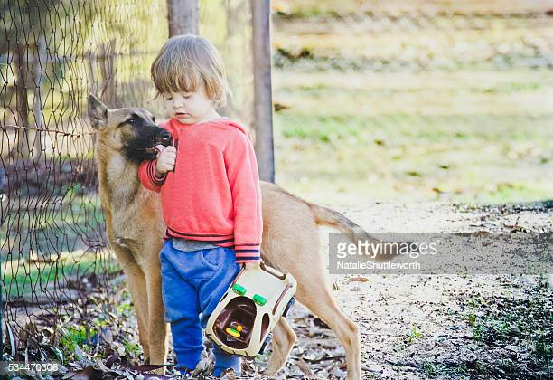 A Young Boy In the Garden With a Belgian Malinois Puppy