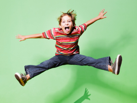 Young boy jumping in mid-air - gettyimageskorea