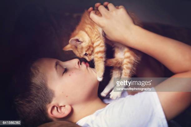 young boy kissing his kitten