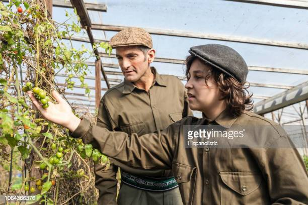 young boy learning about farming at the greenhouse with his father - photosynthesis stock pictures, royalty-free photos & images