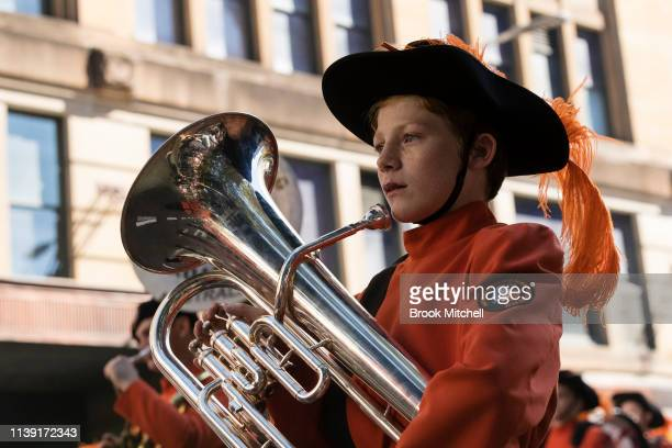 A young boy marches for ANZAC Day on April 25 2019 in Sydney Australia Australians commemorating 104 years since the Australian and New Zealand Army...