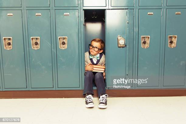 Young Boy Nerd is Happy at his Locker