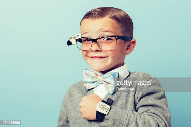 Young Boy Nerd wearing Smart Technology