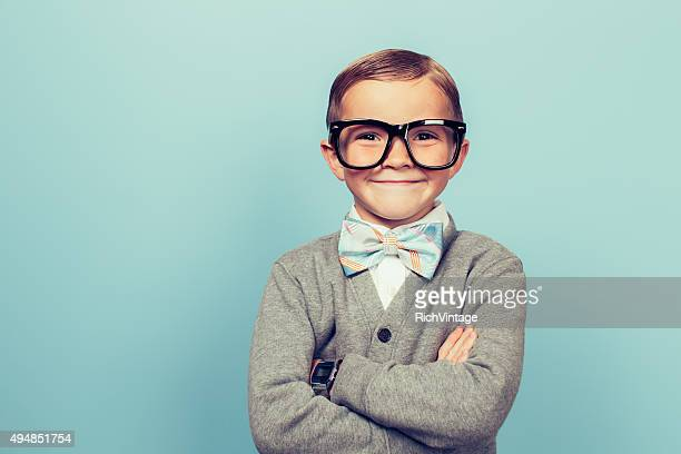 young boy nerd with big smile - bow tie stock pictures, royalty-free photos & images