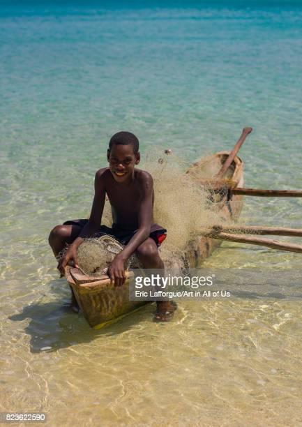 Young boy of the NiVanuatu people in a dugout Sanma Province Espiritu Santo Vanuatu on September 3 2007 in Espiritu Santo Vanuatu