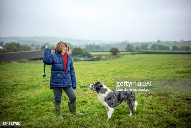 A young boy on the farm about to throw a ball for his dog
