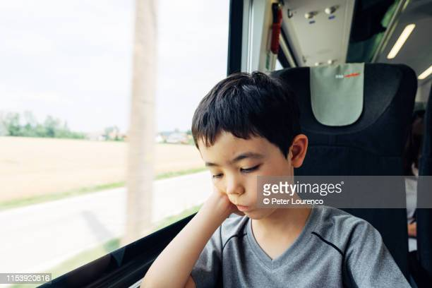 Young boy on train in Austria