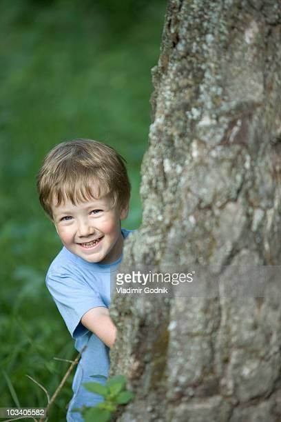 a young boy peeking from behind a tree trunk - 4 5 años fotografías e imágenes de stock