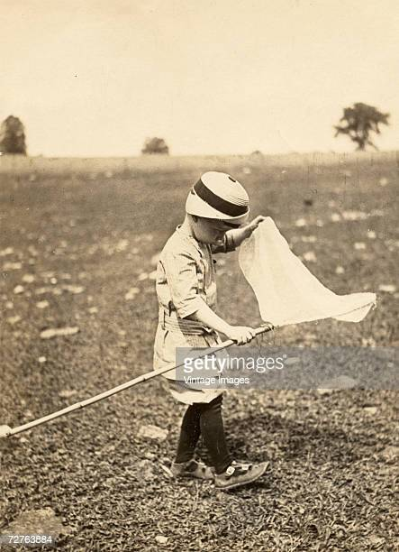 Young boy plays in a field with a butterfly net, Ulysses, Pennsylvania, 1913.