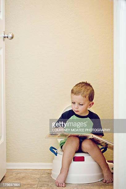 Young boy potty training