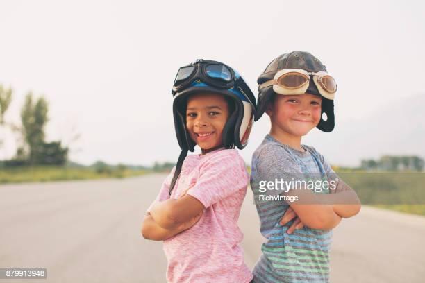 Young Boy Racing Team
