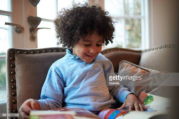 young boy reading book on sofa at home - ウェスト・バークシャー ストックフォトと画像