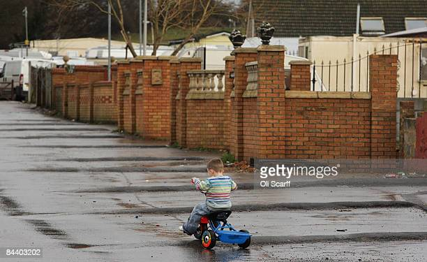 A young boy rides his tricycle on the Dale Farm travellers camp on January 22 2009 near Basildon Essex England The Court of Appeal has ruled that...