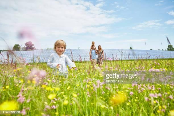 young boy running through field, mother, father and brother following behind, next to solar farm - umweltthemen stock-fotos und bilder