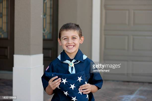 Young Boy Scout with American Flag