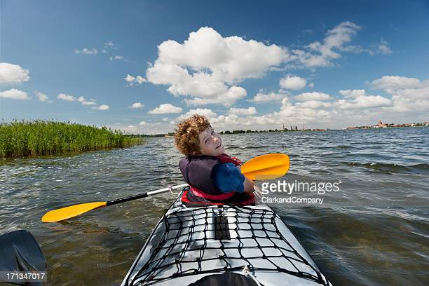 Young Boy Sea Kayaking in Denmark