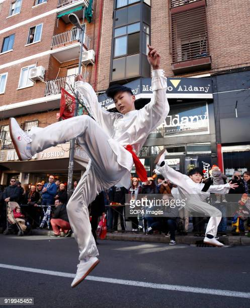 Young boy seen performing Chinese martial art during the chinese new year parade Thousand of participants take part in the Chinese New Year parade in...