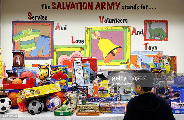 A young boy shops for toys at the Salvation Army Multi Service Center December 19 2007 in San Francisco California Over 1800 underprivileged familes...