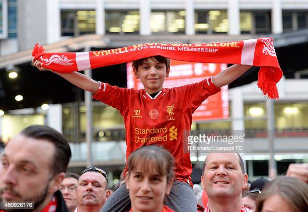 Liverpool FC In Brisbane. A young boy shows his colours during the launch  of the new away playing kit at cf41cec28
