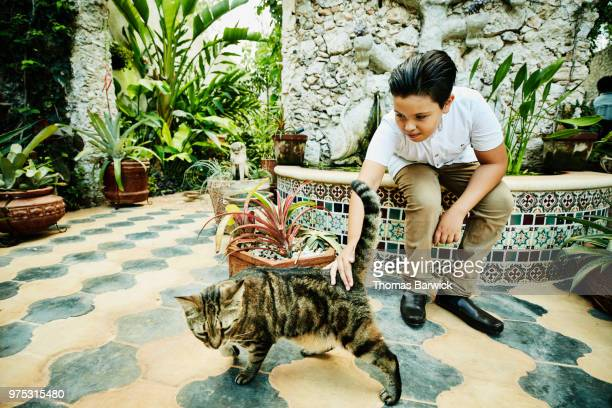 Young boy sitting in garden courtyard petting cat