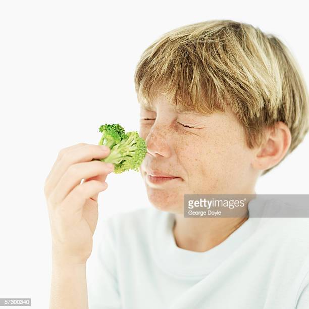 Young boy (12-13) smelling a floret of broccoli