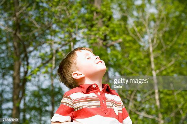young boy standing in park with eyes closed and head back - 頭をそらす ストックフォトと画像