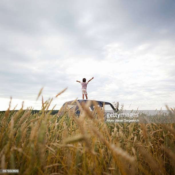 Young boy standing on car in field, arms raised, rear view