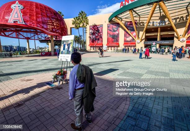 A young boy stands on the mound outside Angel Stadium before a memorial service for the Altobelli family in Anaheim CA on Monday Feb 10 2020 Ramos...