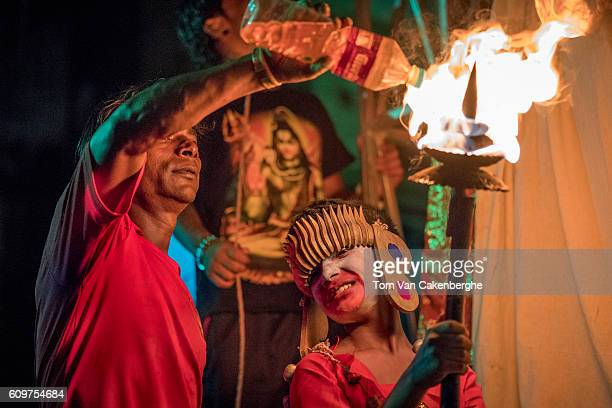 A young boy takes part in night theater depicting the Dash Avatara or 10 incarnations of Hindu Lord Vishnu during the Indra Jatra festival in...