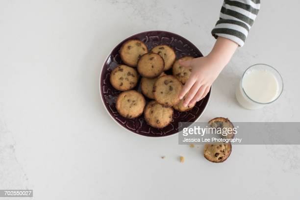 Young boy taking freshly baked cookie from plate, overhead view, close-up