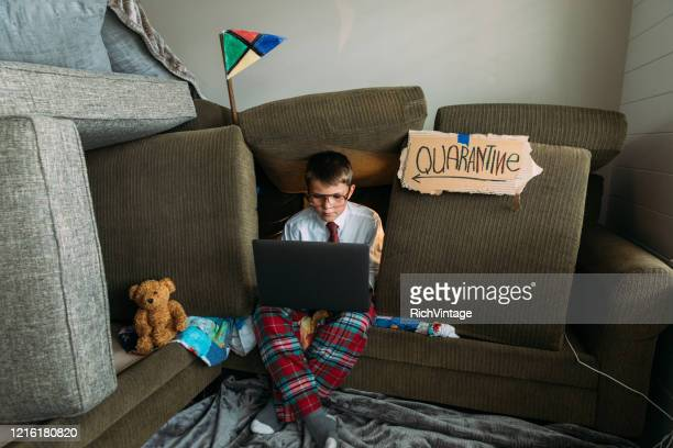 young boy teleworking from home - homeschool stock pictures, royalty-free photos & images