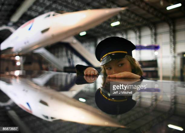A young boy views a Concorde at the museum of flight in East Fortune on April 9 2009 in Scotland The aircraft is celebrating 40 years since its...