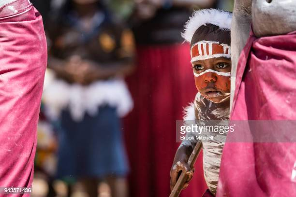 A young boy waits to perform for the Prince of Wales on April 9 2018 in Gove Australia The Prince of Wales and Duchess of Cornwall are on a sevenday...