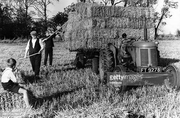 A young boy watches as farm hands load bales of straw on to the trailer at Eaast Coldcotes Farm Ponteland