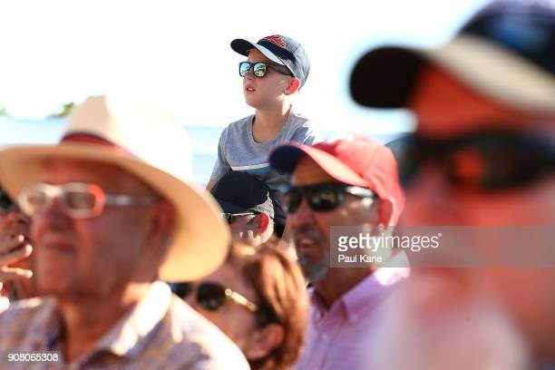 A young boy watching the official opening proceedings at Optus Stadium on January 21 2018 in Perth Australia The 60000 seat multipurpose Stadium...