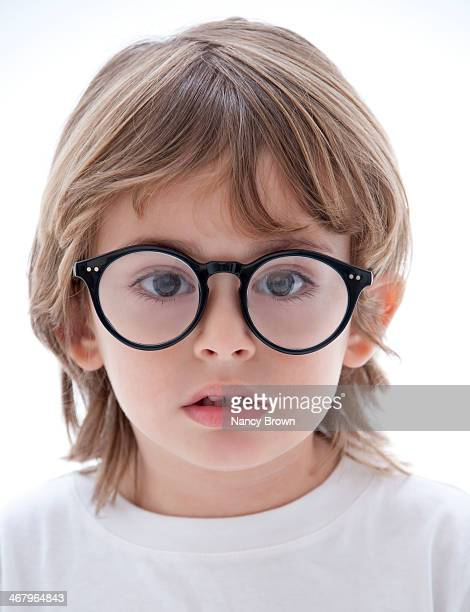 Young Boy with Big Glasses.