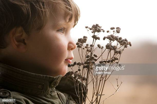Young boy with dried wildflowers.