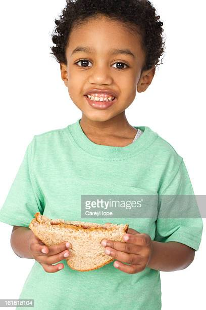 young boy with lunch
