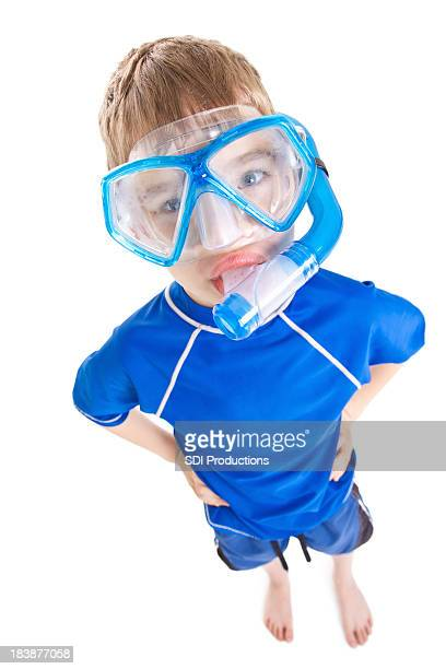 Young Boy With Snorkle, High Angle Isolated on white