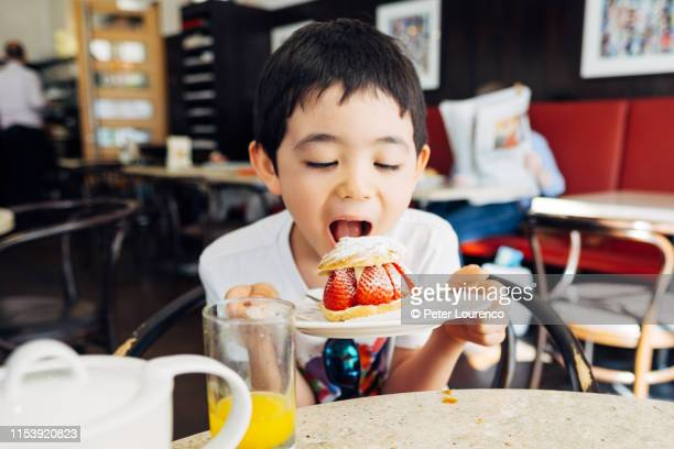 young boy with strawberry shortcake - peter lourenco imagens e fotografias de stock